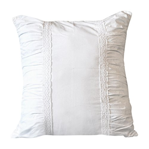 TJ Hudson Designs Square Pillow Sham Light Cream with White Lace: Fits 26 Inch x 26 Inch Euro Pillow. Adds Simple Sophistication to Your Bedding Or Sofa.1 Sham.