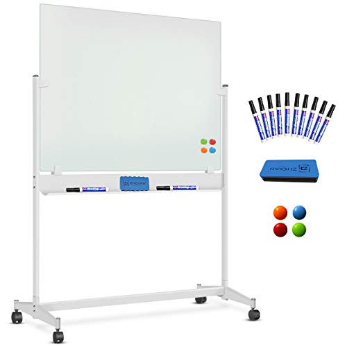 Mobile Glass Dry Erase Board with Stand - 48 x 32 Inch, Rolling Magnetic Glass Whiteboard on Wheels, 10 Markers 1 Eraser 4 Magnets