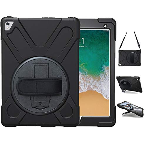 iPad Pro 9.7 Case 2016 Model A1673 | TSQ iPad Pro 9.7 Inch Case Heavy Duty Shockproof Hard Rugged Case Cover w/ 360 Degree Rotating Stand Hand Strap Shoulder Strap for iPad 9.7 Pro A1674/A1675, Black