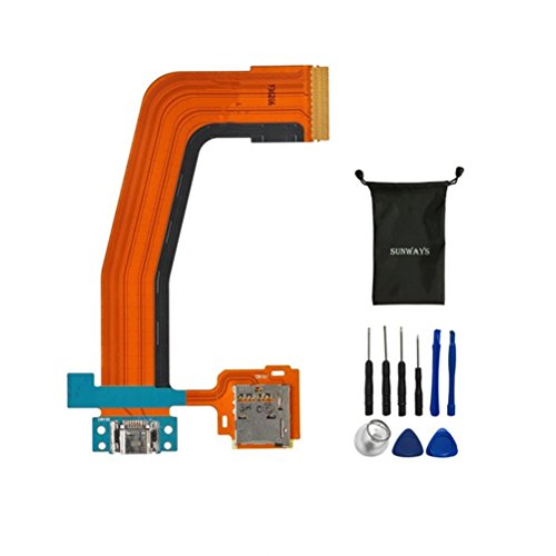 sunways Charger Dock Connector Micro USB Battery Charging Port Flex Cable with Memory Card Tray Replacement for Samsung Galaxy Tab S 10.5 T800 T801 T805 T807 with Device Opening Tools