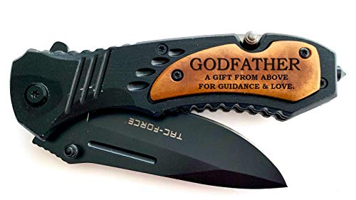Godparent Gift, Godfather Pocket Knife, Gift from Godchild Baptism