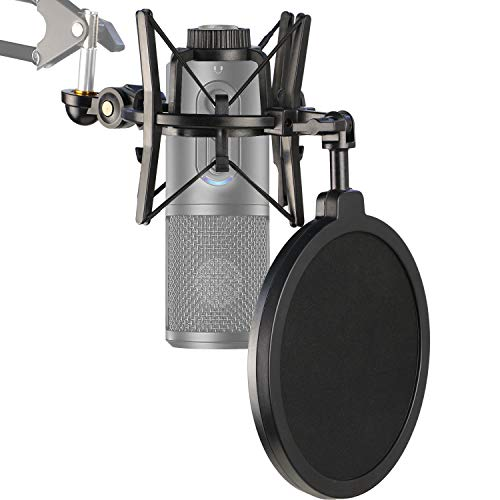 ATR2500X Shock Mount with Pop Filter, Windscreen and Shockmount to Reduce Vibration Noise Matching Mic Boom Arm Stand for Audio-Technica ATR 2500X and ATR2500 USB Condenser Microphone by YOUSHARES