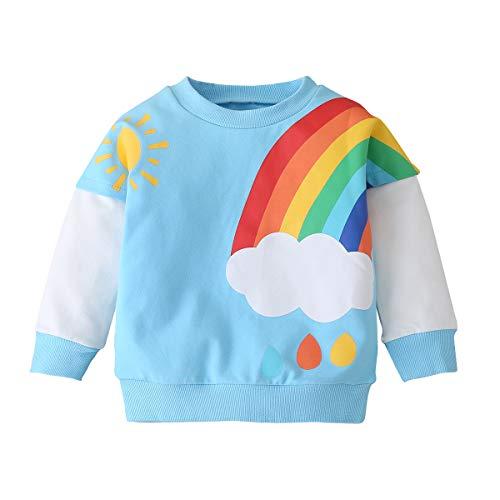 Geagodelia - Sudadera de manga larga para niña, diseño de leopardo, otoño, invierno, informal, ropa para niñas Azzurro Arcobaleno 5-6 Años