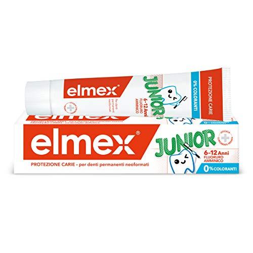 elmex Dentifricio Junior 6-12 Anni per Bambini, con Fluoruro Amminico per Proteggere i Denti Dei Bimbi dalla Carie, Dentifricio Anticarie per Denti Permanenti, 0% Coloranti, 75 ml