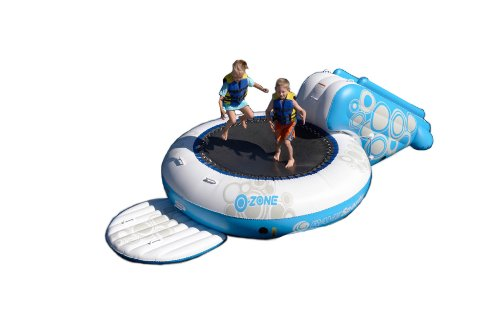 RAVE Sports O-Zone Plus Water Bouncer (White/Blue) with Bounce Platform and Slide