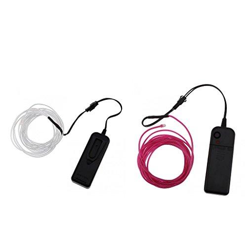 MagiDeal 2pcs Lumière Fluorescent LED EL Fil 5m avec Télécommande Décoration pour Bar Magasin Violet/Bleu