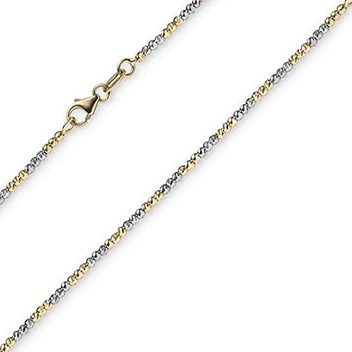 Pulsera de 1,8 mm, cadena de bolas diamantada, oro amarillo 585 y oro blanco, 17 cm