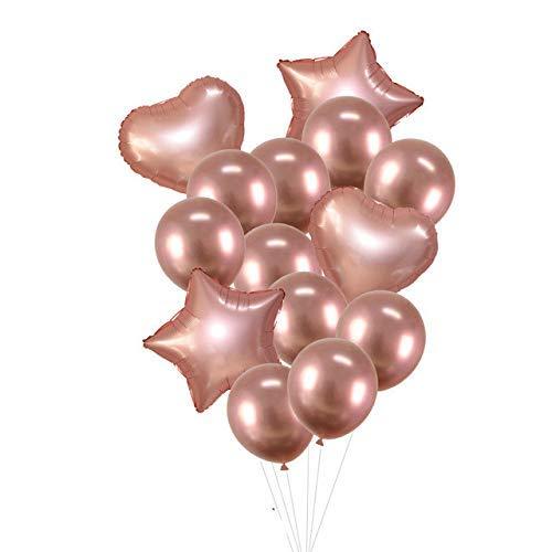 Ballon 14Pcs Multi Konfetti Luftballon Alles Gute zum Geburtstag Party-Ballone Rose Gold Helium Ballons Jungen-Mädchen-Baby-Duschen-Party Supplies ZHNGHENG