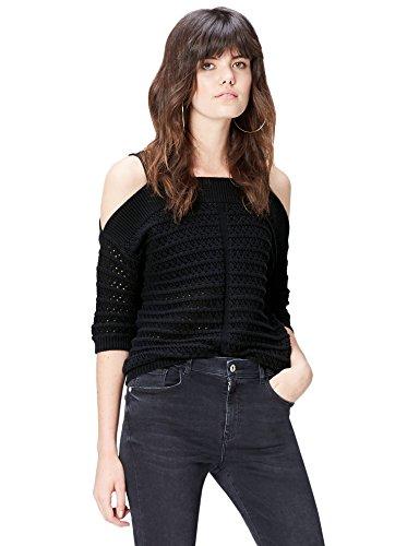 find. Jersey de Crochet con Hombros al Aire para Mujer , Negro (Black), 40 (Talla del Fabricante: Medium)