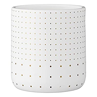 Bloomingville A75800049 White Stoneware Flower Pot with Gold Polka Dots