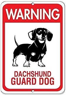 Tin Wall Art 12×16 inches,Warning Dachshund Guard Dog, Funny Decorative Yard Signs Outdoors Home Metal Aluminum Wall Sign Reflective Safety Sign