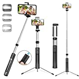 Selfie Stick Tripod, 63 Inches Extendable Selfie Stick with Detachable Bluetooth Remote Shutter and Fill Light, Compatible with iPhone Xs max/XS/XR/X/8/8P/7/7P/6s, Galaxy S10/S9/8/7/6, Huawei, More