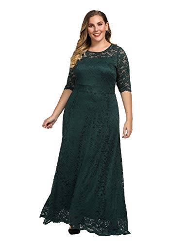 Chicwe Women's Stretch Lined Plus Size Scalloped Lace Maxi Dress Gown Teal Abyss 1X Plus