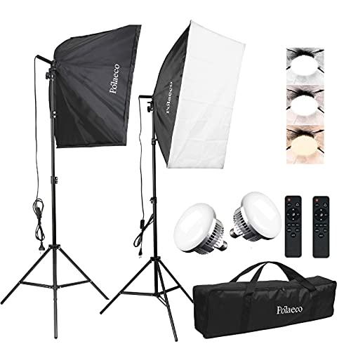 Softbox Kit LED 95W Iluminación Fotográfica 3000K~6500K, 2 Softbox 50x70 cm, 2 E27 Bombillas LED, 2 Control Remoto, 2 Soporte de Luz y 1 Bolsa de Transporte, Luz Continua para Fotografía y Vídeo
