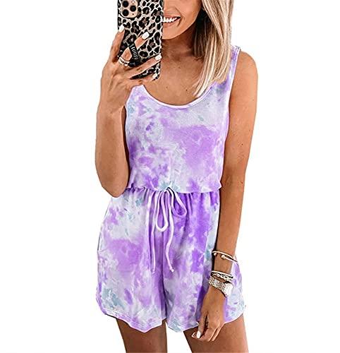 Mono Mujer Dulce Cuello Redondo Cordones Tie Dyed Mujer Rompers Verano Simplicidad Única Elasticidad Colocación Diseño Exquisito Moda Casual Mujer Mamelucos A-Purple 3XL