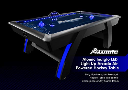 Atomic 90'' or 7.5 ft LED Light UP Arcade Air Powered Hockey Tables - Includes Light UP Pucks and Pushers, Grey