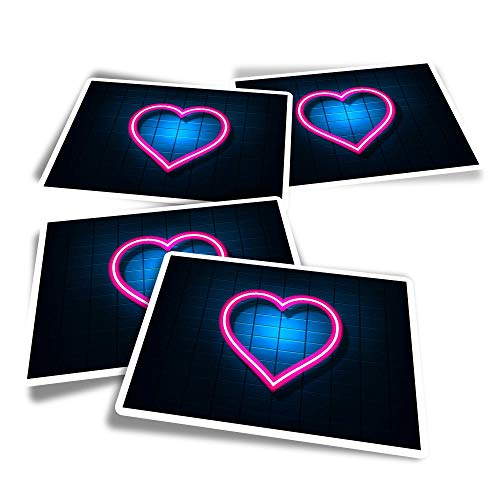 Vinyl Rectangle Stickers (Set of 4) - Cute Neon Love Heart Sign Fun Decals for Laptops,Tablets,Luggage,Scrap Booking,Fridges #3990