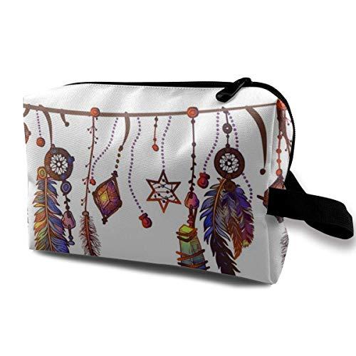NAA Bordüre mit Federn und Kristallen Personalisierte kosmetische Aufbewahrungstasche wasserdichte Frau Reisetasche