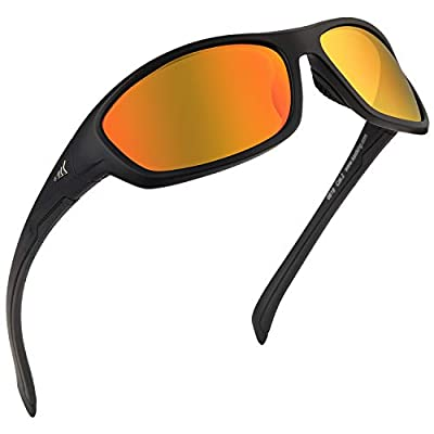KastKing Hiwassee Polarized Sport Sunglasses for Men and Women, Matte Black Frame,Amber Base Scarlet Mirror