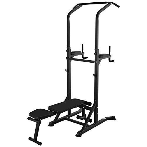 Station de Musculation Fitness Entrainement Complet - Barre de Traction, à dips, Banc de Musculation Pliable, poignées Push-up - Acier Noir