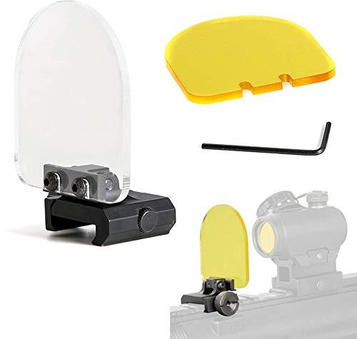 Slosy Protector para Lente de Airsoft Cubierta Mira Rifle Pack 2 Cristales + Llave Allen Pantalla Ajustable a Prueba de Balas Tapa Plegable Mira Holografica y Telescopica Alcance