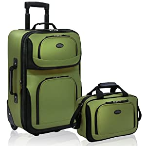 U.S. Traveler Rio Rugged Fabric Expandable Carry-On Luggage Set 2-Piece, Green