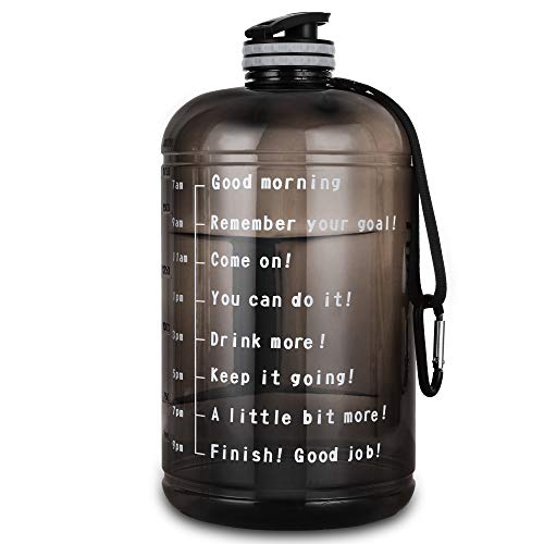 Upmore 1 Gallon / 128oz Water Bottle with Motivational Time Marker 128oz / 73oz Large Capacity BPA Free Reusable Sports Water Jug with Handle to Drink More Water (73oz, PFTG-Gray)