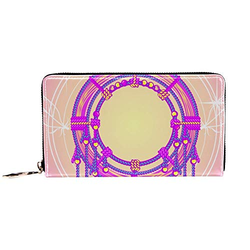 XCNGG Damen Reißverschluss um Brieftasche und Telefonkupplung, Reisetasche Leder Clutch Bag Kartenhalter Organizer Wristlets Wallets, Indian Dreamcatcher