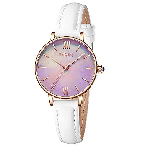 Uhren Damen Analog Quarz Armbanduhr mit Lederarmband Diamant Uhr für Frau Minimalistische Mode Uhren Damen-Weiß