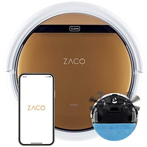 ZACO V5x Saugroboter mit Wischfunktion, App & Alexa Steuerung, 8,1cm flach, automatischer Roboter, 2in1 Wischen oder Staubsaugen, für Hartböden, Fallschutz, mit Ladestation, Mit Wlan, 22 W, 65 Dezibel