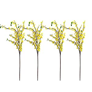 BTPOUY 4Pcs Long Stem Artificial Winter Jasmine 135cm 17Forks Fake Winter Jasmine Bouquets with Green Leaves Faux Yellow Flower Branches for Vase Home Office Wedding Decor