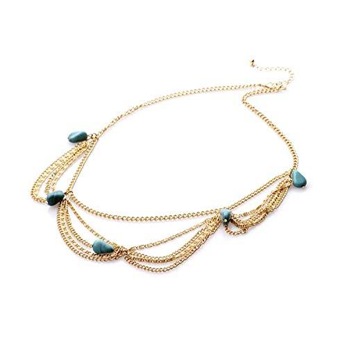 PPX Mode Metallkopf Türkis Kette Gold Damen Stirnband Kopfstück Haarband Haarschmuck-mit Klarsichtbox(Türkis)