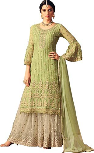 Yami fashion Indian ethnic Wear collection of full embroidery worked with Net and santoon silk sharara for women's