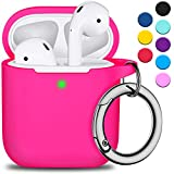 AirPods Case Cover with Silver Keychain, Full Protective Silicone AirPods Accessories Skin Cover for Men Women Girl boy Teens with Apple AirPods Wireless Charging Case,Front LED Visible-Rose Pink
