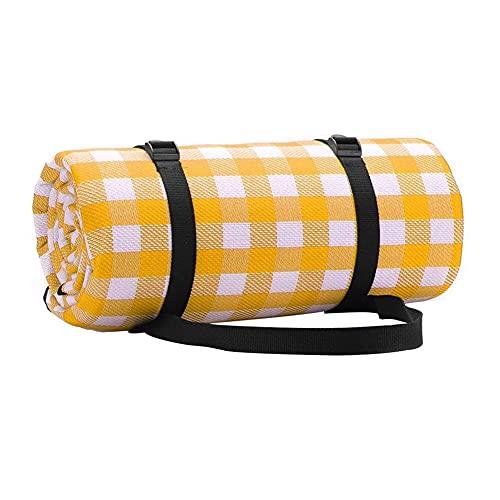 HJHQQ-CZYHG Manta Picnic Folleta Camping Mat de Camping Enrejado de Humedad para Acampar Senderismo Playas de Hierba 150x200 cm (Color : Orange and White Squares, Size : 150x200 cm)