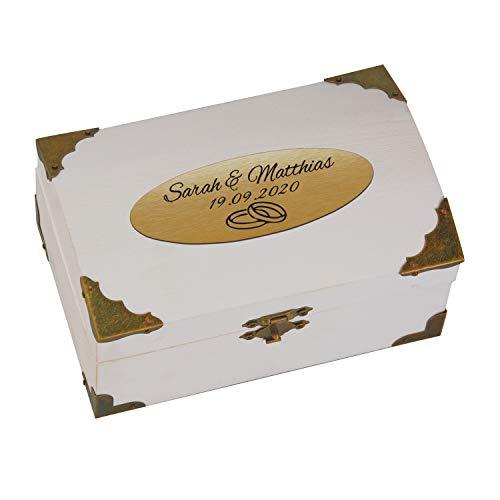 Schatzkiste weiß zur Hochzeit mit Gravur (Gold, Ringe): personalisierte Schatztruhe mit Namen und Datum graviert, Schatztruhe - Hochzeitsgeschenk, Geldgeschenk verpacken