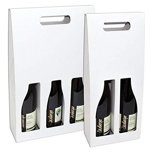 1 Verpackungseinheit (25 Stück) Santorin Flaschentragekarton<br/>2er Wein/Sekt<br/>Fb. weiß<br/>170 x 85 x 400 mm