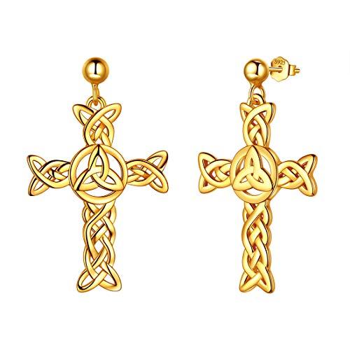 925 Sterling Silver Celtic Knot Cross Irish Drop Earrings Women Men Celtick Jesus Cross Religious Dangle Earring 18k Gold Plated Infinity Celtic Cross Irish Knot Jewellery DE0231Y