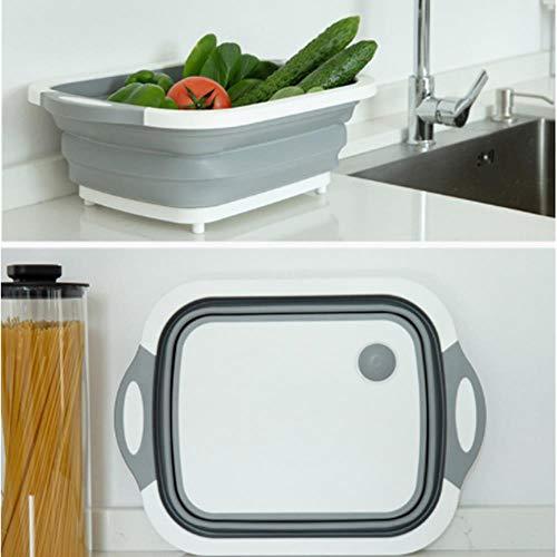 Piore Multifunctionele 3-in-1 opvouwbare snijplank Keuken Opvouwbare afvoerbak Snijblokken Wasmand Keuken Organizer, Vierkantlek gat