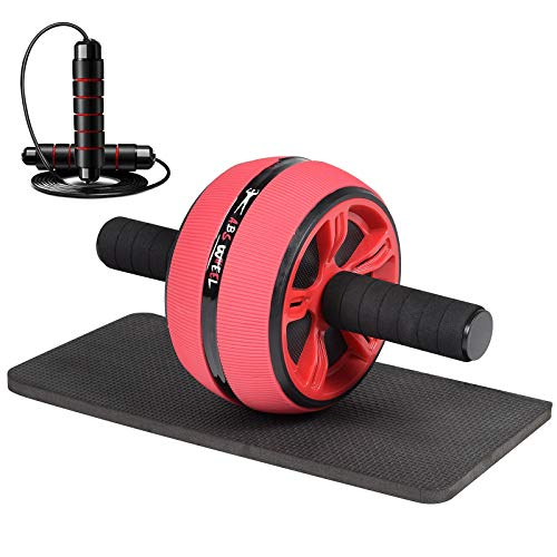 Ab Roller Wheel, Ab Roller for Abs Workout,3-in-1 Ab Wheel Roller with Knee Mat and Jump Rope, Ab Wheel for Abdominal Exercise, Ultra Wide Ab Roller Suitable for Men Women, Abs Workout Equipment, Red