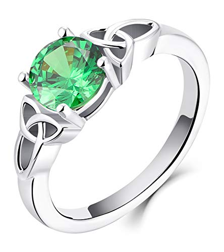 YL Celtic Knot Rings for Women 925 Sterling Silver Created Emerald 18k White Gold Plated Statement Rings-size6