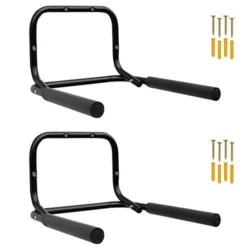 2x WELLGRO® Wand Fahrradhalter - Stahl, schwarz, klappbar, Tragkraft bis 50 kg, Wandmontage, weiche Schaumstoffpolsterung