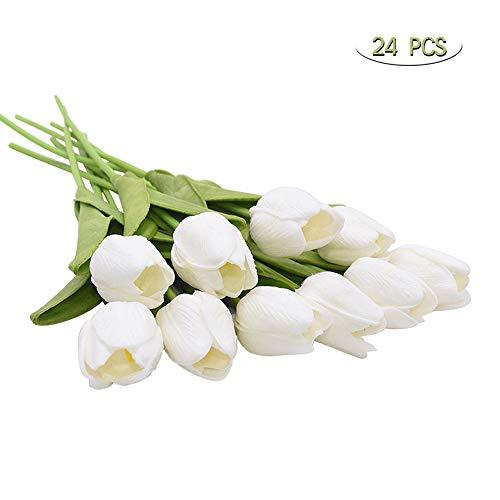 Tulipani Artificiali, Realistici Bouquet di Fiori Finti di Tulipani per la Casa, Matrimonio, Festa, Decorazione dell'ufficio, Composizioni Floreali 24 Pezzi (Bianca)