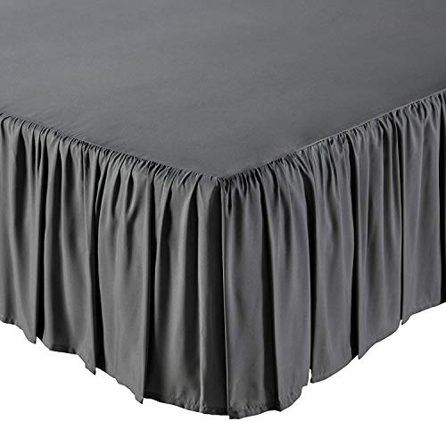 KP Linen Ruffled Bed Skirt with Split Corners Queen Size (18 Inch Drop) Platform Dust Ruffle Gathered Bedskirt with 400 Thread Count Microfiber Wrinkle Free Ruffled Gatherd Bed Skirt(Dark Grey Solid)
