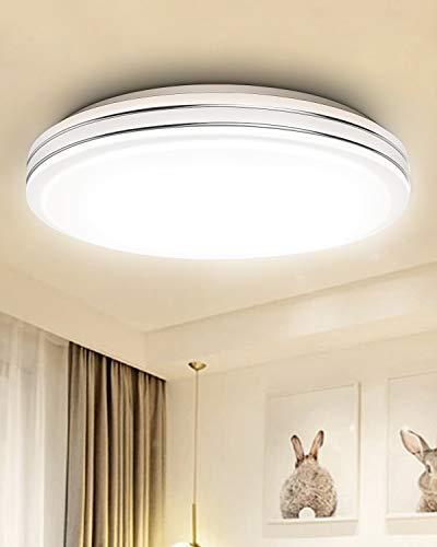 24W LED Deckenleuchte, Elekin 2400LM 3000K-6500K LED Wohnzimmerlampe Ø34,5cm Küchenlampe Deckenlampe, Wasserfest Schlafzimmerlampe für Bad Küche Balkon Kinderzimimer