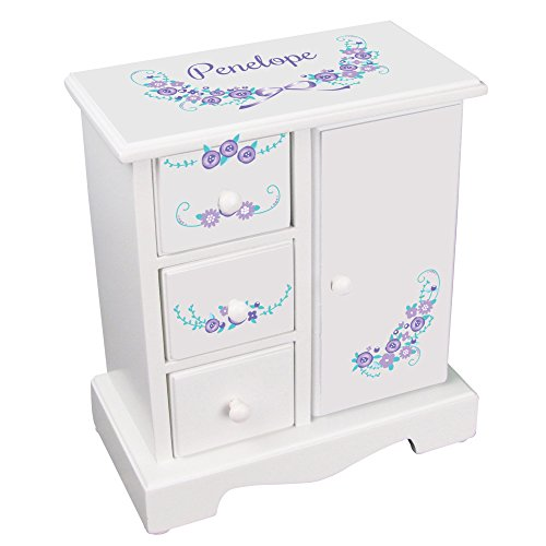 MyBambino Personalized Girls Jewelry Armoire Box Lavender Floral Garland Design