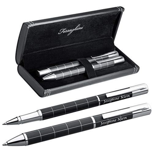 Elegantes Schreibset FERRAGHINI® Kugelschreiber und Tintenroller mit Laser Gravur - in einem ansprechenden Etui zum Geburtstag F12403