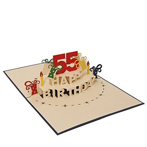 Favour Pop Up Glückwunschkarte zum runden 55. Geburtstag. Ein filigranes Kunstwerk, das sich beim Öffnen als Geburtstagstorte entfaltet. ALTA55B