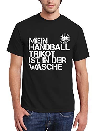 clothinx Herren T-Shirt EM 2020 Mein Handball Trikot ist in der Wäsche Schwarz/Weiß Größe M