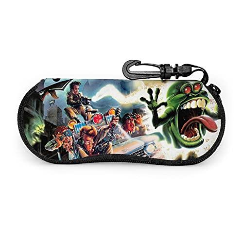 Ghostbusters Funda de neopreno ultraligera portátil con cremallera rígida para gafas de sol con mosquetón para hombres y mujeres